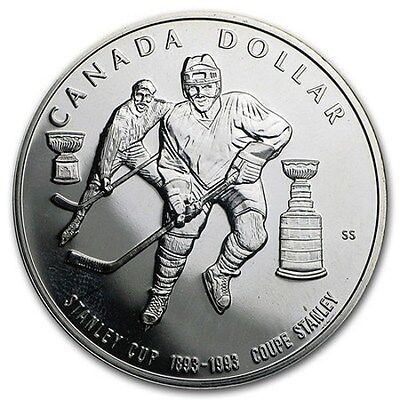 1993 Canada Proof Silver Dollar, Sterling, Hockey, 100th Anniversary Stanley Cup