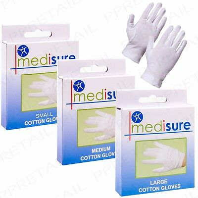 SMALL - LARGE 100% COTTON MOISTURISING GLOVES Medical Eczema Skin Hand Care