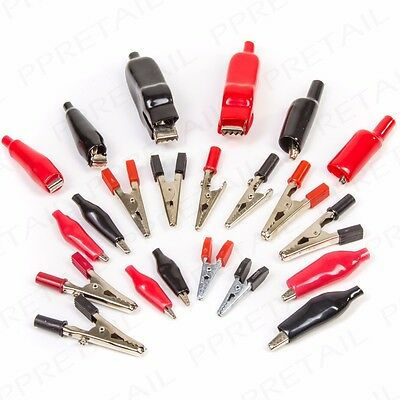 5A/10A/20A SMALL Crocodile Clips INSULATED Low Voltage Lead/Wire Test Alligator