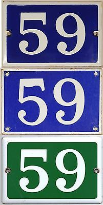 Old blue or green French house number 59 door gate wall fence street sign plate