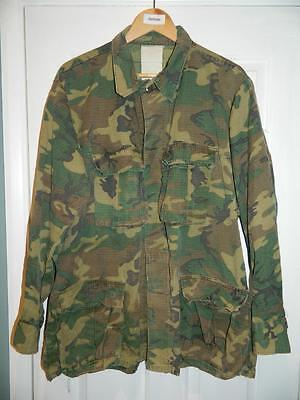 Vintage American Rip-Stop Woodland Camo Vietnam Era Field Jacket distressed worn