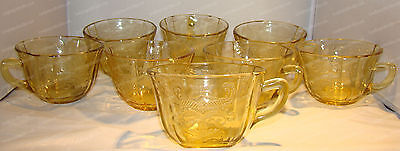 Yellow Depression Glass Cup Set (8) Federal Glass, Madrid Pattern