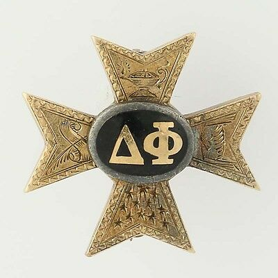 Delta Phi Cross Badge 10k Yellow Gold Black Enamel Fraternity Pin 1921 Vintage