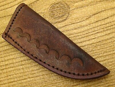 Stamped Leather Sheath for Small Fixed Blade Patch Knife