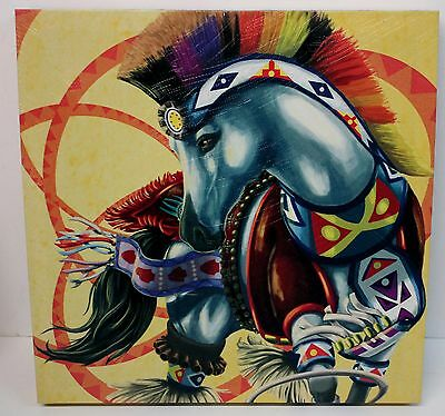 "Horse of a Different Color Hoop Dancer Canvas Wall Artwork 15"" x 15""  #20556"