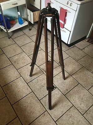 "Vintage - Antique Wood Brass Surveying Tripod - Telescope Camera Lamp 60"" Tall"