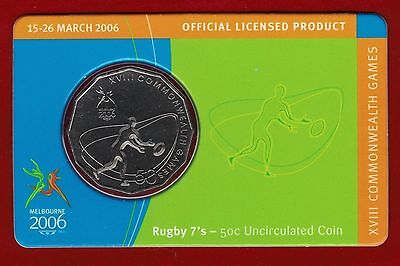 2006 Melbourne XVIII Commonwealth Games 50c Uncirculated Coin Rugby 7/'s