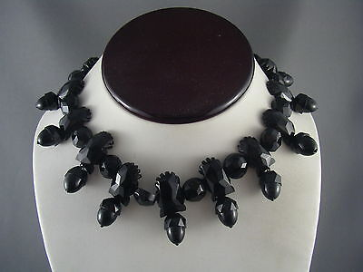 EXQUISITE! Victorian 1880's Carved Whitby Jet ? Acorn Dangle Collar Necklace