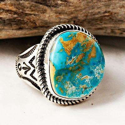Albert  Jake Natural ROYSTON Turquoise RING Sterling Silver Native American 8 9.