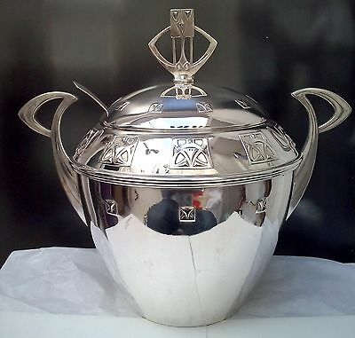 BEAUTIFUL ART NOUVEAU WMF Large Silverplate Punch Bowl with Lid & Ladle ca 1890