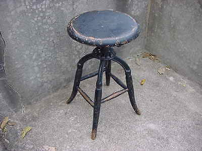 Antique Industrial Medical Doctor Dentist Adjustable Wood & Cast Iron Stool