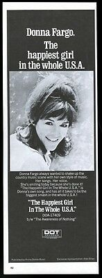 1972 Donna Fargo photo The Happiest Girl in the Whole USA song trade print ad