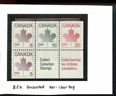 LOT 56165 MINT NH BOOKLET PANE 82b  CANADA 1 BAR TAGGING TAG DOES NOT TOUCH PERF