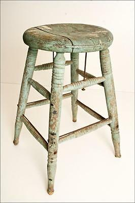 Vintage WOOD STOOL shabby country chic primitive rustic french cottage wooden