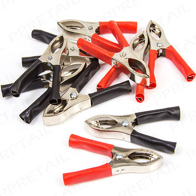 10 x RED & BLACK Nickel Crocodile Clips 30A Electrical Alligator Insulated Grip