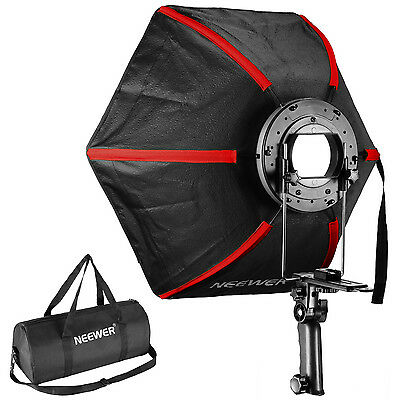 "Neewer Black/Red 24"" Folding Collapsible Hexagonal Softbox with Hand Grip"