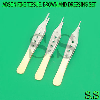3 Pcs Adson Fine Tissue, Brown And Dressing W/ Fenestrated Gold Handle