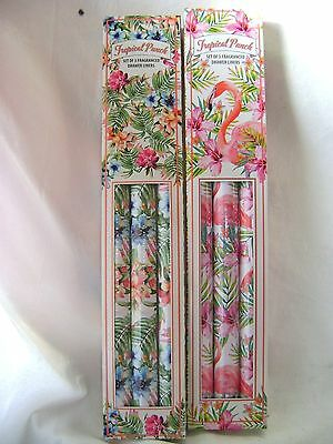 New 3 Scented Drawer Liners Tropical Punch Flamingo Or Flower Design Sil Tt0154