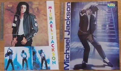 2 original HUGE 4-page magazine POSTERS Michael Jackson | Black or White PHOTO