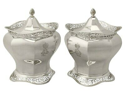 Antique Edwardian Pair of Sterling Silver Biscuit Boxes