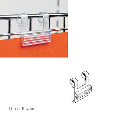 10 x Wire Basket Sign Holder, Co-extruded clear PVC Supergrip with double hook