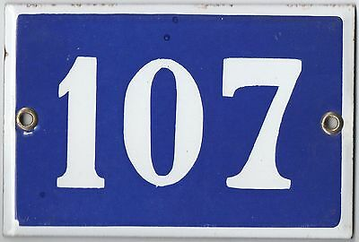 Old blue French house number 107 door gate plate plaque enamel steel metal sign