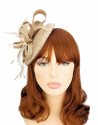 Biscuit Colour Neutral Woven Domed Bow Hair Fascinator with feathers -  8cm Clip