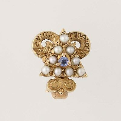Delta Upsilon Mini Sweetheart Pin - 14k Yellow Gold Pearls Sapphire Fraternity