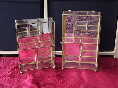 2 x Vintage Brass Curio Display Stands / Cabinets