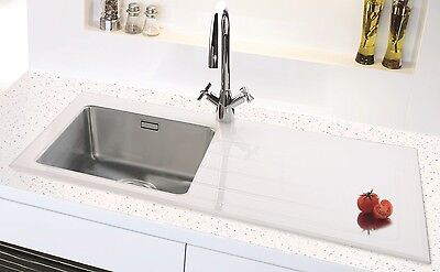 Clearwater Crystal Glass Topped Stainless Steel Kitchen Sink Range Inc Waste Kit