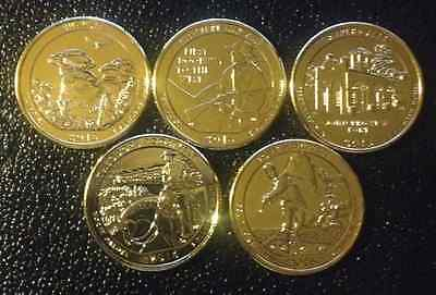 2016 D 24K Gold Layered America The Beautiful National Parks Quarter Set