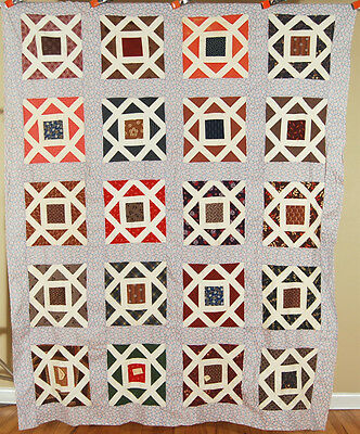 GORGEOUS Vintage Diamond in a Square Garden Maze Antique Quilt Top ~GREAT FABRIC