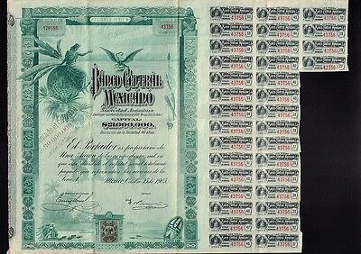MEXICO : Banco Central Mexicano 1905 with uncancelled dividend coupons