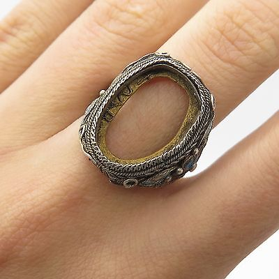 Antq China Solid Silver Unfinished Signet Ring Size