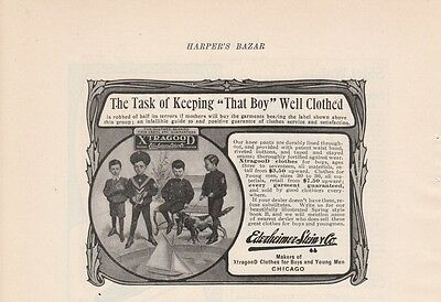1904 Ederheimer Stein & Co Chicago IL Ad: Task of Keeping That Boy Well Clothed