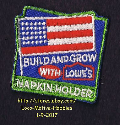 LMH PATCH Badge 2006 NAPKIN HOLDER Flag Holders LOWES Build Grow Clinic Workshop