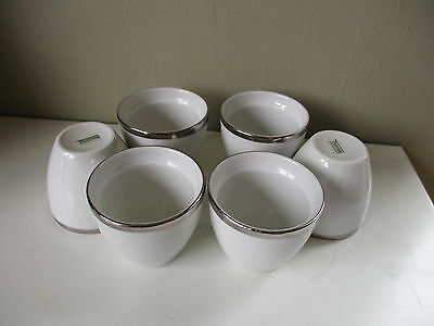 6 Thomas Germany Medallion White & Platinum Egg Cups ( Thick Wide )