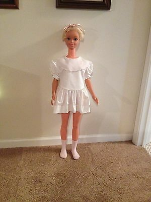 My Size Barbie White Mini-Dress With Pink Hair Bow And Pink Socks
