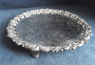 """SUPERB Large ORNATE 12"""" ~ SILVER Plated ~ ENGRAVED Salver TRAY ~ c1890"""