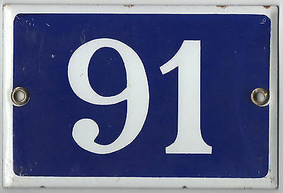 Old blue French house number 91 door gate wall plate enamel steel metal plaque