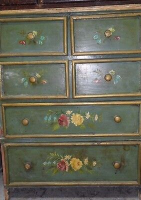 Antique Decorative hand made Chest Of Drawers hand painted ca 1880s