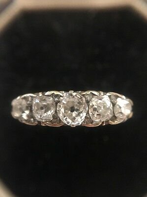 Vintage Five Stone Diamond Ring 18ct Yellow Gold Scroll Diamond Points Stunning