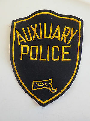 Vintage Massachusetts Auxiliary Police Patch Black and Gold Unused New Old Stock