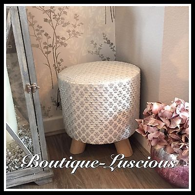 Silver Sparkle Fabric Boutique Footstool Seat Chair Wooden Legs Next Day Post