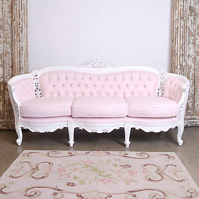 Shabby Cottage Chic Fancy PINK Linen Tufted Settee French Vintage Style Sofa