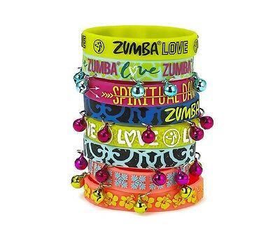 Zumba ~ Love Rubber Bracelets - 8 Pack! (4 with bells)(4 without bells)Free Ship