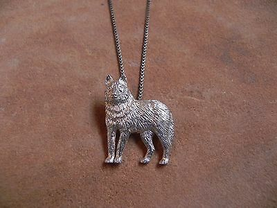 Sterling Silver WOLF Pendant on Sterling Silver Box Chain Necklace 16""