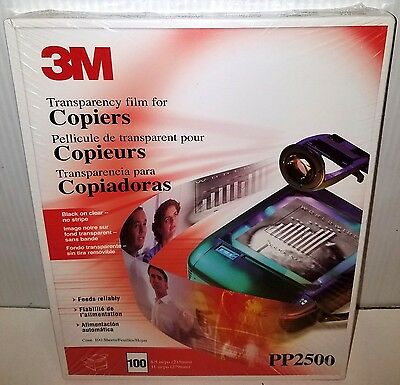 "3M PP2500 (100 SHEETS) Transparency Film For Copiers  8 1/2"" x 11""  NEW & SEALED"
