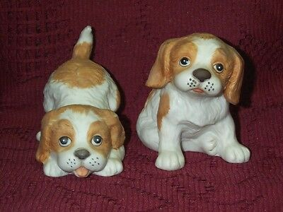 Vintage 2 Springer Spaniel Homco Puppy Dog Figurines Tan White 1407 Porcelain 3""