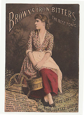 "Late 1880's Lily Langtry "" The J Ersey Lily"" Tradecard For Browns Iron Bitters"